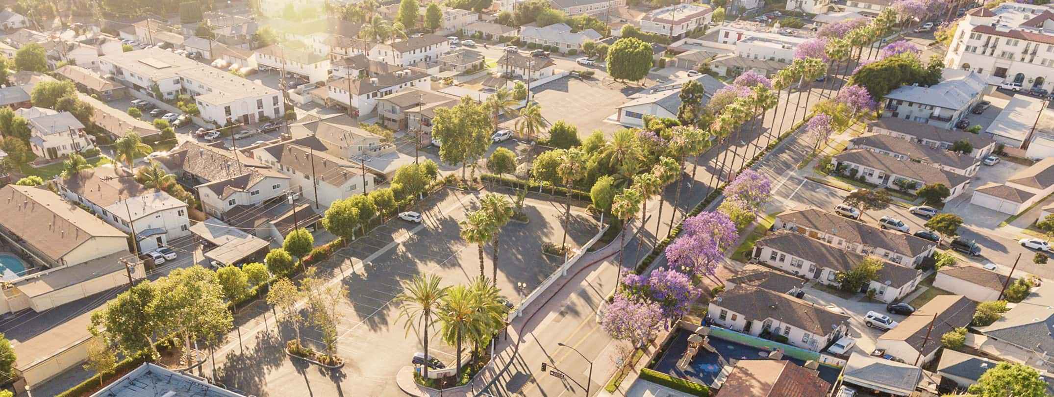 Arial view of the Blossom Market Hall and streets of San Gabriel.